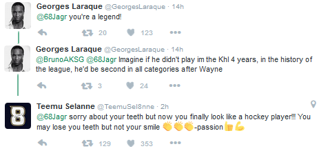 Laraque and Selanne tweets
