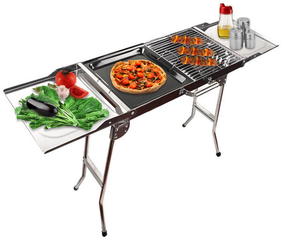 folding portable bbq barbecue stir fry grill