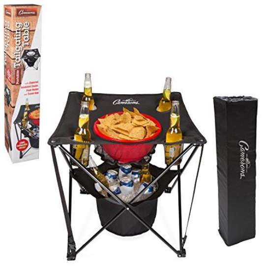 collapsible, folding tailgating table complete with food basket, insulated cooler, and travel bag