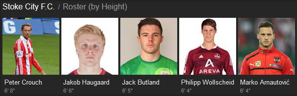 Stoke City tall players
