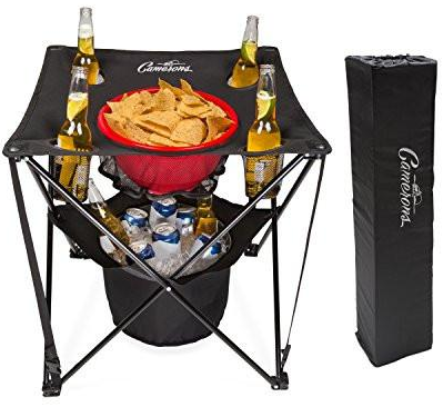 combo collapsible table with an insulated cooler, a food basket, and four cup holders