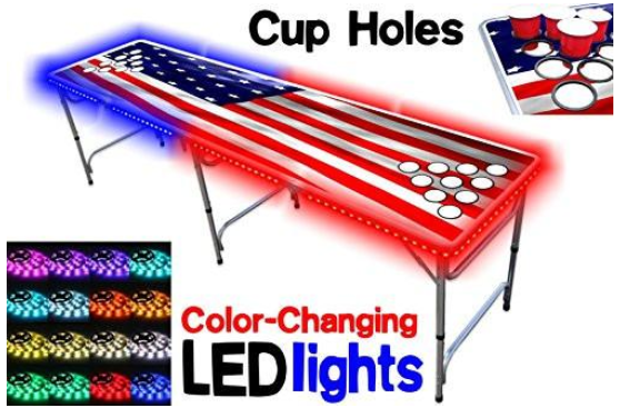 8-foot long professional beer pong table with cup holes and LED lights