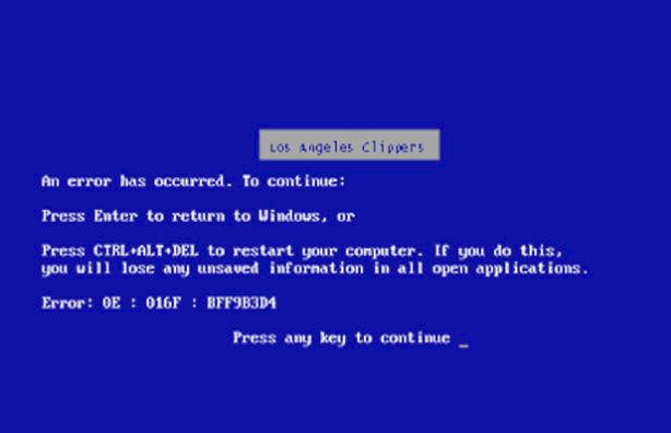 Clippers blue screen of death