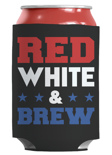 Red White and Brew koozie