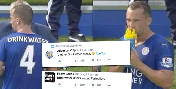 Danny Drinkwater drinking water