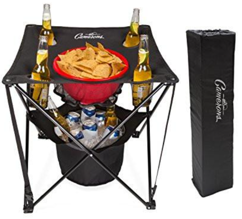 collapsible tailgating table with an insulated cooler, food basket, and travel bag