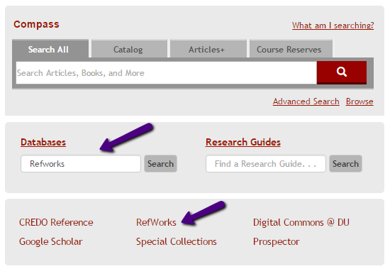 Finding RefWorks on Library Homepage