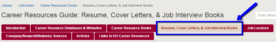 Image of the Career resource guide, highlighting the page for resume, cover letters, & job interview boks