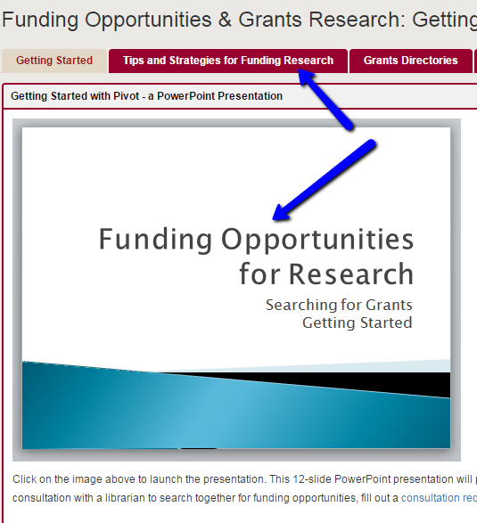 Image highlighting the PowerPoint on grant funding on the guide