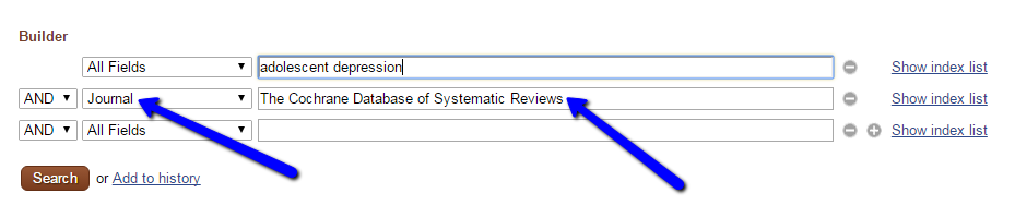 Image of search in PubMed to get results from Cochrane Database of Systematic Reviews