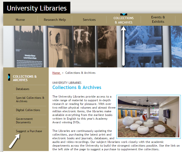 Image of DU library website collections and archives page, highlighting link to suggest a purchase