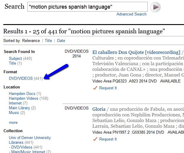 Image of DU online library catalog search results, highlighting filter for DVD/Videos