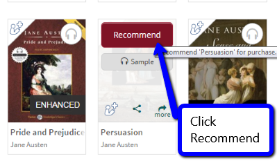 Image highlighting the recommend button