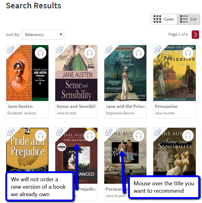 Image of overdrive page with audiobooks you can recommend to the DU library