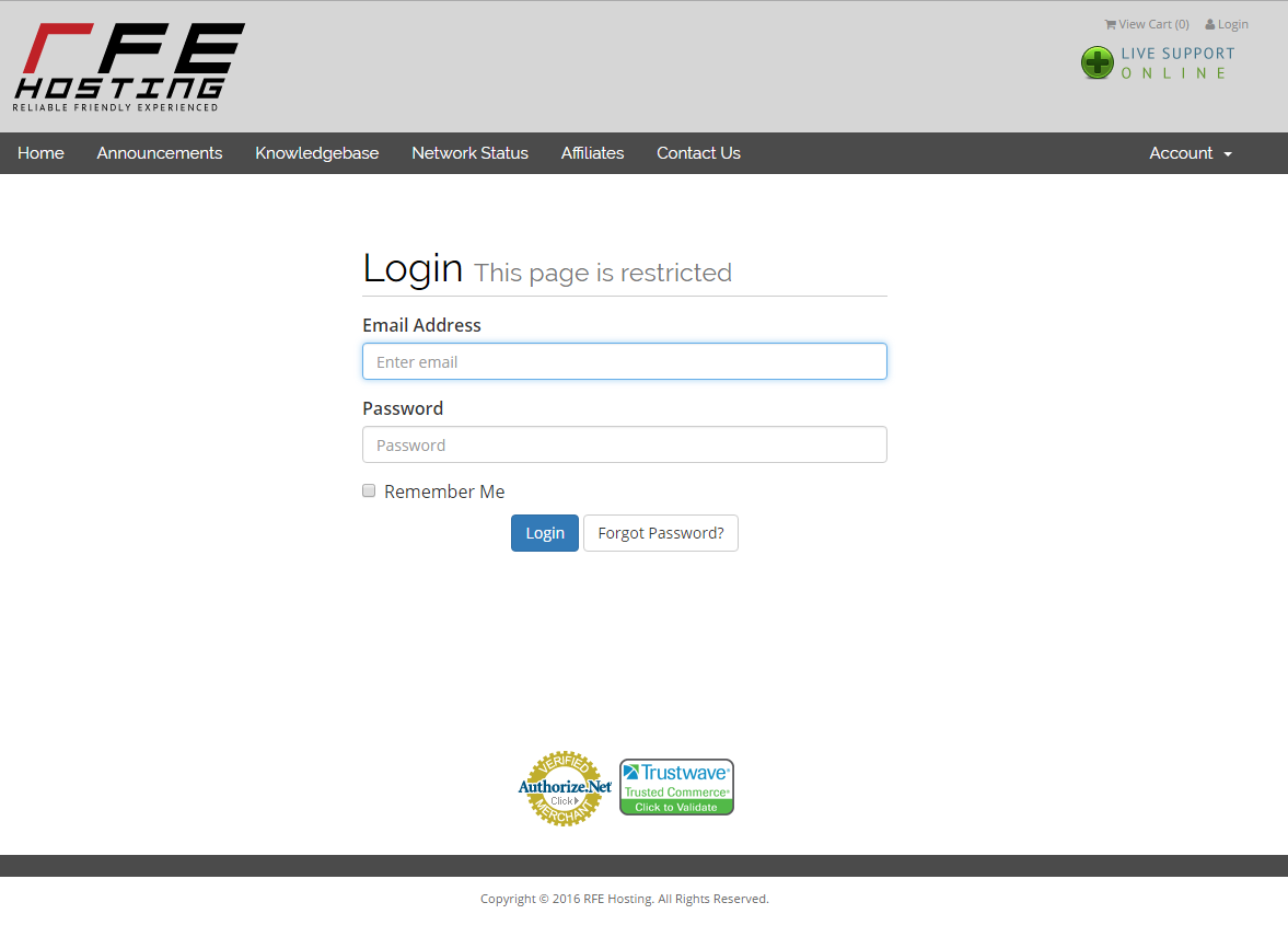 rfe billing login