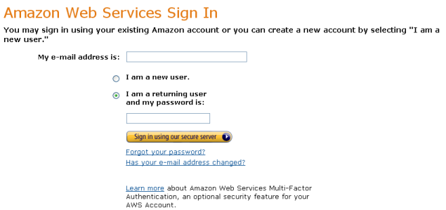 AWS Management Console Login