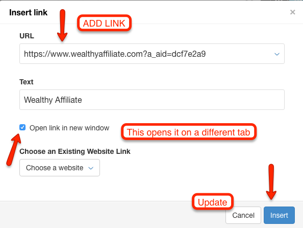 Place Your Affiliate Link Here and Update