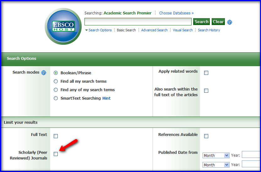 Screenshot of how to limit search results to peer-reviewed articles.
