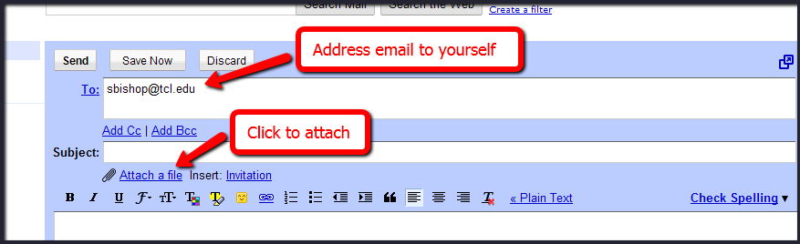 Screenshot of email instructions