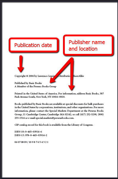 Publication information can be found on the back of the book's title page