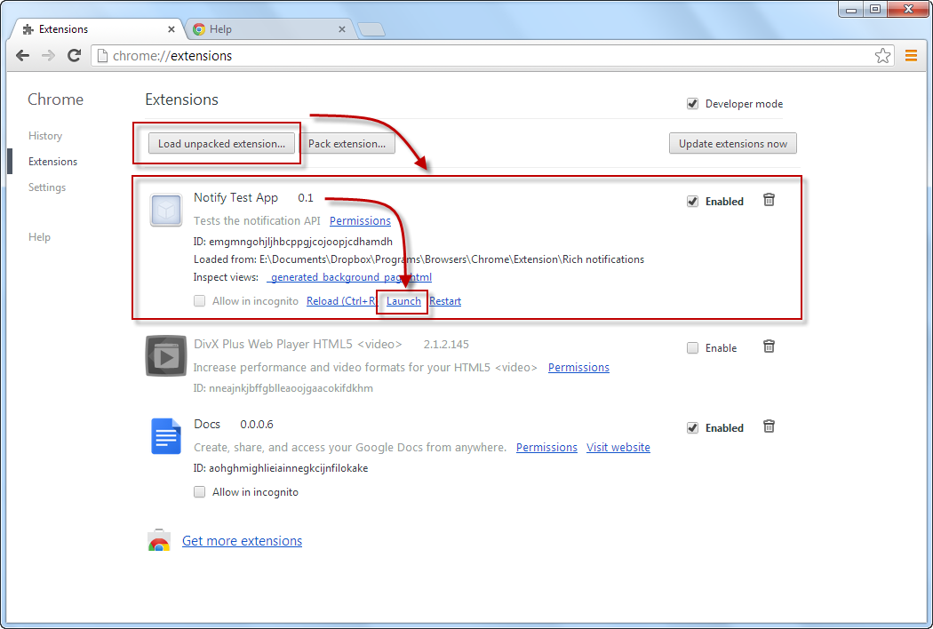 Chrome Rich notifications - installing, launching...