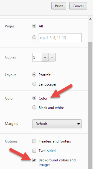Printer settings to print color calendar