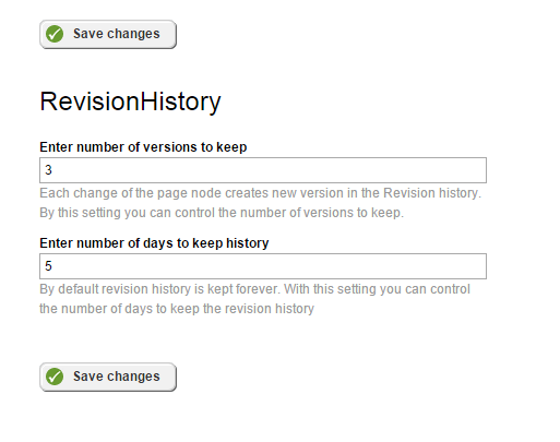Revision history settings for pages in Sitefinity