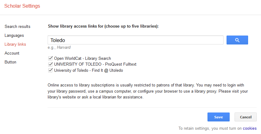 Google Scholar Library Settings
