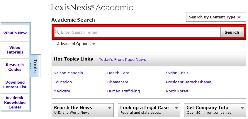 LexisNexis Home Screen