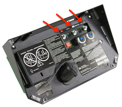 Terminals on garage door opener rear panel