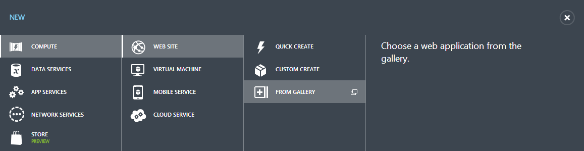 Azure Web Site Gallery