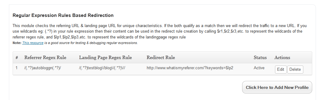 regulare expression rule based redirection profile
