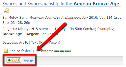 In Art full text, the Find It button appears under the citation on the results page.
