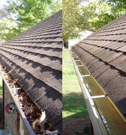 Before and after photos of our team doing gutter cleaning service