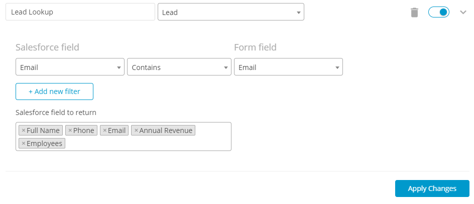 salesforce lead lookup 123formbuilder