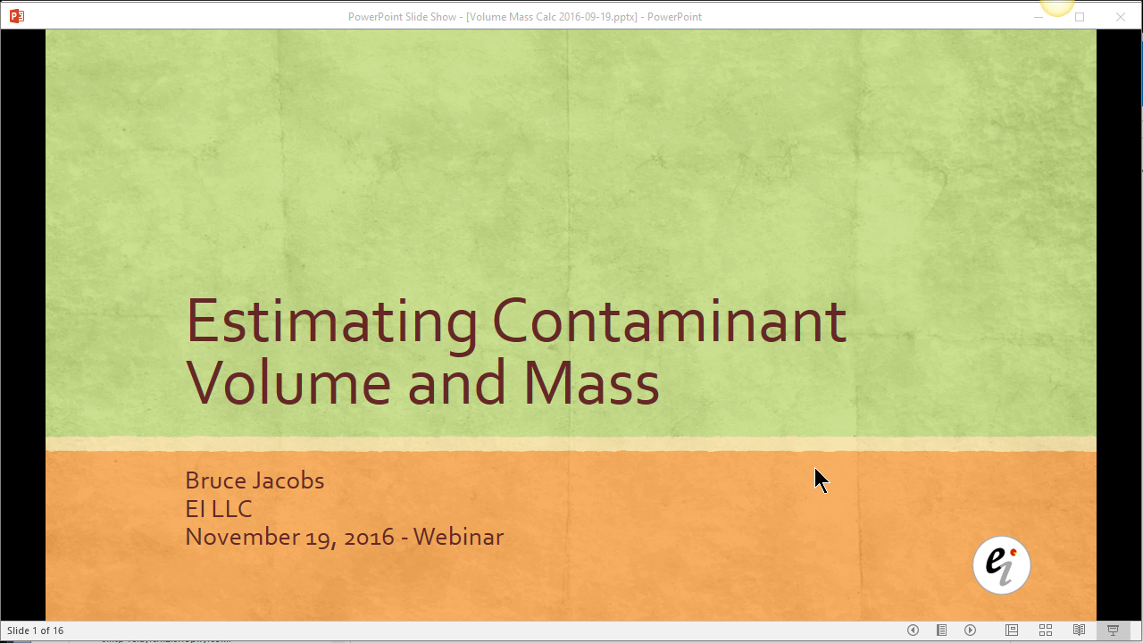 Estimate contaminant volume and mass