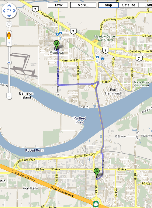 Google Maps from Langley to Pitt Meadows
