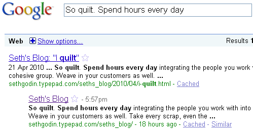 SERP for Seth Godin Blog
