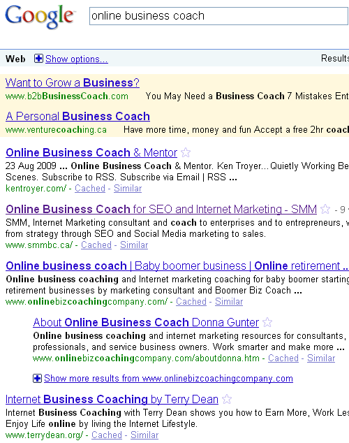 SERP for online business coach