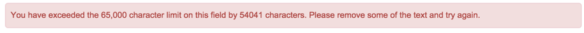 screenshot of error message displayed when character limit is exceeded