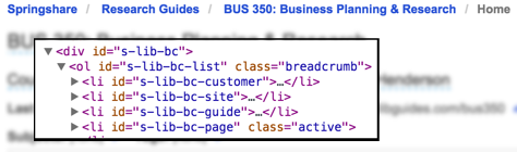 Screenshot of site breadcrumbs and their CSS IDs