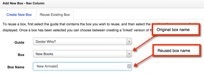 Screenshot of where to customize a box name during the reuse process