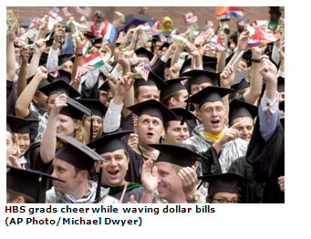 Harvard Business School graduates wave dollar bills and flags at commencement