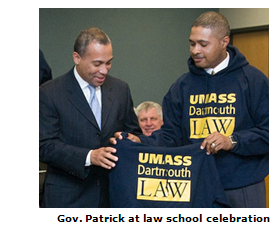 Massachusetts governor visits celebration of University of Massachusetts law school