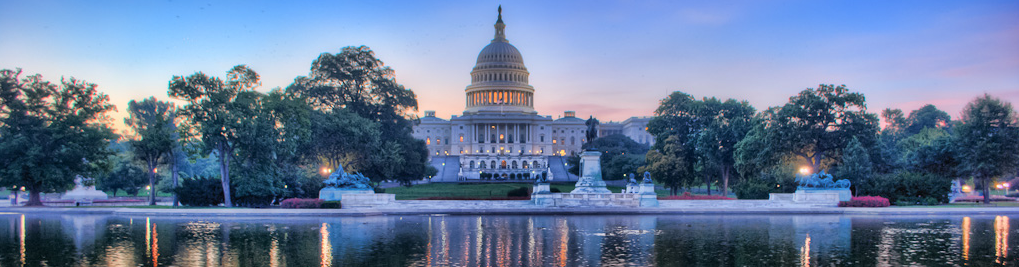 U S Capitol building in panoramic with Grant statue and reflecting pool in foreground