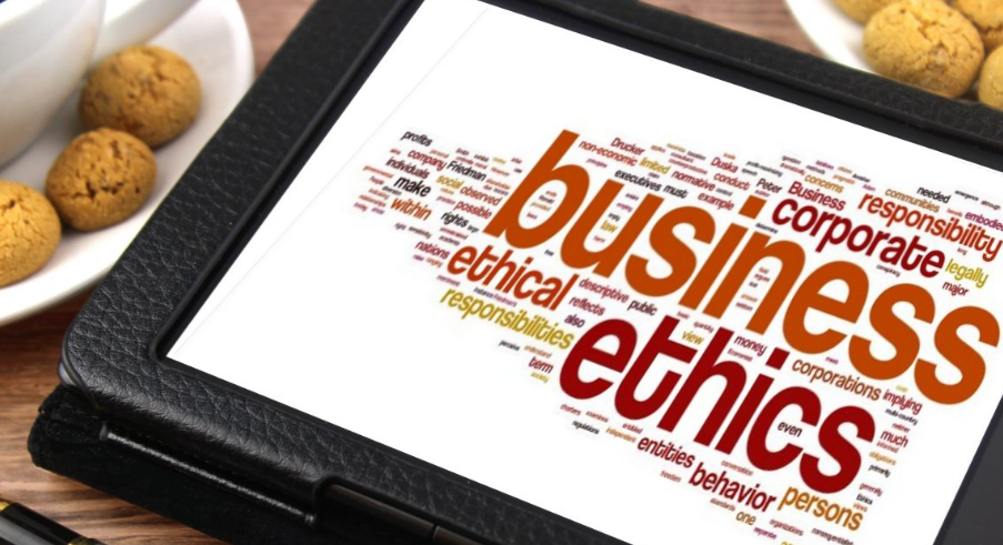 business word cloud on a tablet
