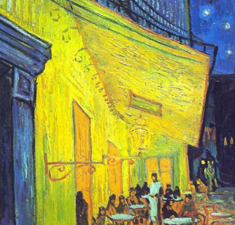 Van Gogh Cafe Terrace at Night, complementaries of blue and yellow