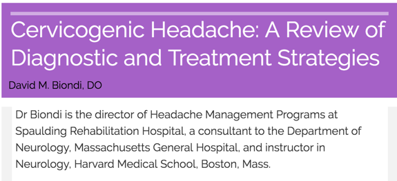 Cervicogenic Headache: A Review of Diagnostic and Treatment Strategies