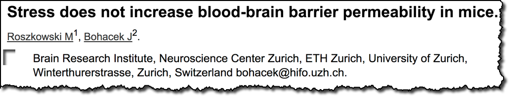 Stress does not increase blood-brain barrier permeability in mice