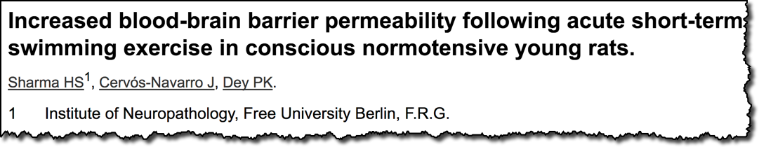 Increased blood-brain barrier permeability following acute short-term swimming exercise in conscious normotensive young rats